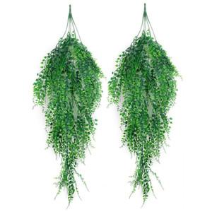 Plantes artificielles Hanging 2PCS artificielle lierre vert vigne arbustes Hanging vigne Plantons pour jardin mur extérieur Décor