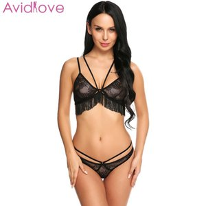 Avidlove Pron Erotic Costumes Sexy Lingerie Set Sleepwear Women Sexy Lingerie Set Unlined Fringed Lace Bra and Thong Brief CY200512
