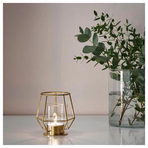Gold Geometric Candlestick Decor Candle Holder Metal Christmas Windbreak Tealight Candle Holders Home Wedding Decoration FC036