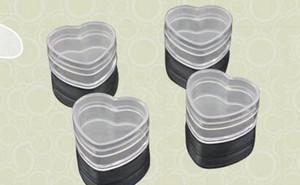Kapak ile Kalp Shape 4g Temizle Plastik Numune Kapları Kavanoz Kozmetik Ambalaj Tırnak Sanat Glitter Toz Pudra Vaka Pot Box boşalt boşalt