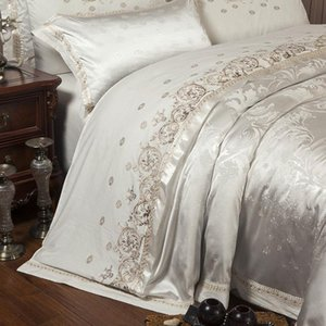 4pcs Sliver Gold-Luxus-Silk Satin Jacquard Bettbezug Bettwäsche Set Königin King Size Bett Stickerei Set Bettlaken / Spannbettlaken Set