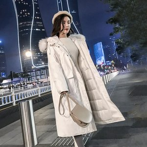 Double-sided female midi 2019 loose down jacket coat down jacket winter big hair collar overcomes coat
