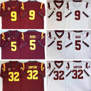 Cheap USC Trojans Vintage Jersey #5 Reggie Bush 32 OJ Simpson 14 Sam Darnold 9 Kedon Slovis 43 Troy Polamalu 55 Junior Seau Stitched Jerseys