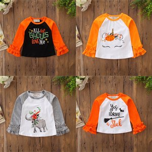 Halloween Shirts Pagoda Long Sleeve Ruffle Unicorn Elephant Pumpkin Witch Trick Treat Bat Letter Printed Patchwork Designer Tops BFJ620