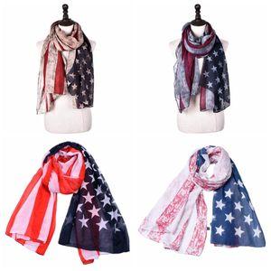 4to de la bandera americana Mujer de la bufanda de moda de la vendimia de EE.UU. Viajes julio Wrap largo bufandas de la señora Beach Party regalo bufanda TTA-1130