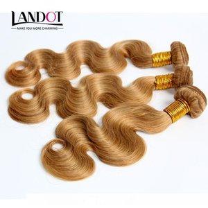 H Honey Blonde Brésilien Péruvien Indien Malais Russe Cheveux Weave corps humain Vague 3 4 5 Bundles Lot Couleur 27 #Brazilian cheveux Extens