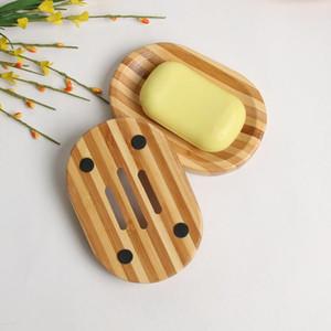 Supporto di legno del vassoio del sapone di bambù naturale di sapone piatto di legno di sapone bagagli Plate Rack Box Contenitore per vasca doccia Bagno LXL572-1