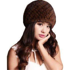 (TopFurMall) женская подлинная реальный трикотажные норки бомбардировщик шляпы женские зимние шапки уха грелки мода головной убор VK2007 D19011503