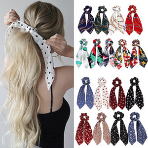 Moda Summer Ponytail Bufanda Elástica Cuerda para el cabello para las mujeres Pelo Bow Lazs Scrunchies Bandas de pelo Flower Print Ribbon Hairbands 2020 Headbands