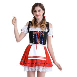 CHAMSGEND Womans sexy Frauen rote Spitze Oktoberfest Kostüm Bavarian Beer Girl Drindl Cosplay Kleid Frau Kleid 2018 C30829