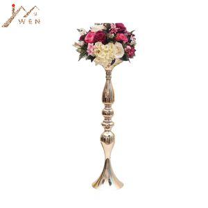 Gold Candle Holders 50cm 20\ Metal Candlestick Flower Vase Table Centerpiece Event Flower Rack Road Lead Wedding Decoration