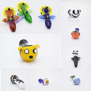 12 diseños de pipas de vidrio accesorios para fumar para pipas de agua de bong pipas de mano de vidrio de animales burbujeador único