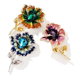 El nuevo diseño de la broche de 3Colors mujeres al por mayor colorido hermoso de goteo de aceite Rhinestone flores broche de joyería accesorios de vestir envío