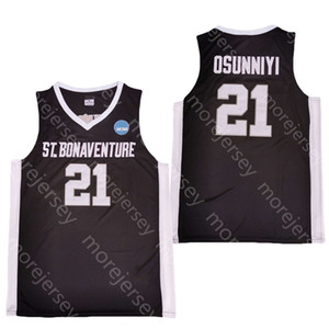2020 Nueva San Buenaventura Bona Bonnies baloncesto de la universidad de New NCAA 21 Osun Osunniyi Negro Todo cosido y bordado Tamaño de los hombres de la Juventud