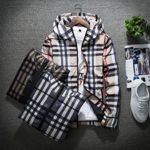 Rivestimento di modo casuale a vento manica lunga taglie M-5XL Mens Jackets Pocket Zipper Mens Hoodie cappotto a quadri Giacche