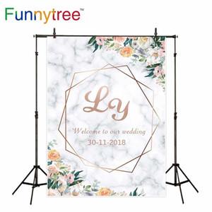 fotografia fundo Funnytree Branco textura de mármore Rosa quadro ouro flores Photocall cenários casamento photophone