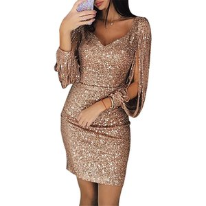 Moda con cuello en V Borla de manga larga Hollow Out Slim Bag Hip Dress Discotecas Vestidos delgados Vestido de fiesta con lentejuelas