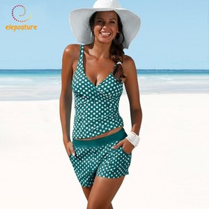 2020 Plus Size Swimwear Women Tankini Swimsuits High Waisted Bathing Suits Polka Dot Swimsuit Vintage Retro Bikini Set Beachwear MX200613