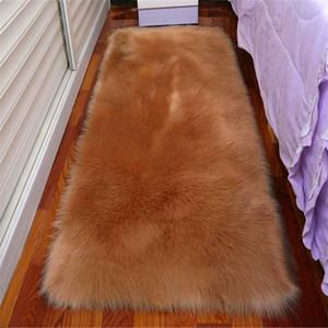 Sınır ötesi çok renkli imitasyon koyun derisi halı oturma odası sehpa mat uzun saçlı su paspas yatak odası başucu halı
