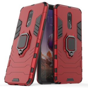 2 in 1 Hybrid Armor ring stand support Shockproof phone hard back cases cover case For LG Stylo 5 Stylo5