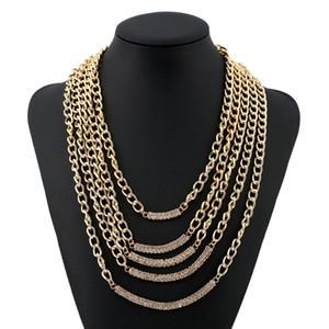 diseñador de moda de lujo exagerado de múltiples capas borla de la cadena collar suéter comunicado diamante del diamante artificial de metal dorado geométrica para la mujer