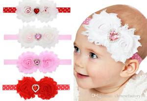 Infant Headbands INS Valentine Love Heart Rhinestone Lace Headband Baby Red Headband Preemie Baby Hair Bows Rose Valentines Day Headband