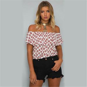여름 패션 여성 Blous 짧은 소매 넥 셔츠 캐주얼 뻗 소매 넥 블라우스 느슨한 쉬폰 최고 셔츠 의류 슬래시 슬래시