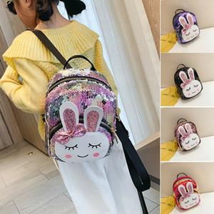 키즈 소녀 스팽글 배낭 귀여운 토끼 귀 더블 숄더 백 미니 배낭 아이들이 줄 지어 여행 배낭 학교 가방