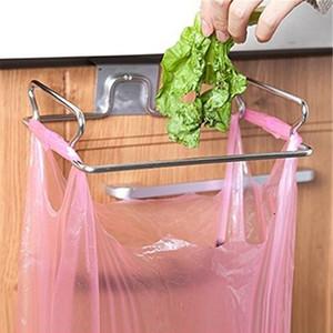 Металлическая дверь шкафа назад висит мусорный стеллаж для хранения кухонного мусора мусорный мешок держатель банки висит кухонный шкаф мусорный стеллаж Бесплатная доставка