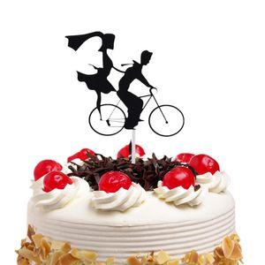 20pc / lot gâteau Toppers Drapeaux Noir bicyclette Mr Mrs Love enfants Petit gâteau d'anniversaire Topper de mariage Epoux Party cuisson bricolage de Noël