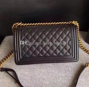 Bayanlar lüks Yüksek Kalite Çanta Klasik Le Boy Flap çantası kadın Ekose Zinciri 25.5cm torba Moda tasarımcısı çanta omuz Messenger çanta