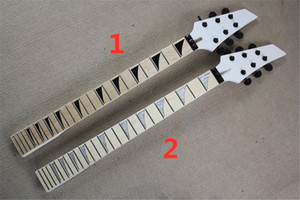 6 Strings White Headstock Electric Guitar Neck with Black Tuners,Maple Fingerboard,Can be customized as request