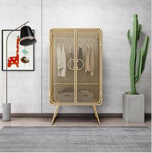 Plancha Simple Mesh Armario dorado Ropa y sombreros de doble puerta Estante receptáculo Armario creativo tipo piso Muebles de dormitorio