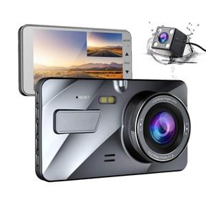"""Dash Cam Nueva lente dual del coche DVR de la cámara HD 1080P 4"""" Monitor IPS delantera + trasera azul visión nocturna del espejo Video Recorder Aparcamiento"""