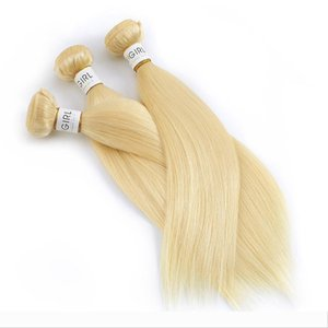 613 Blonde Straight Brazilian Hair Weave Human Hair Bundles with Frontal 3PC Remy Hair and 1PC Lace Frontal