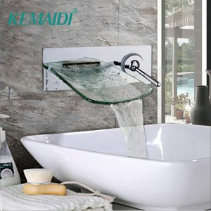 KEMAIDI Wall Mounted Waterfall Glass Spout 크롬 브래스 경감 님이 욕실 수도꼭지 싱글 핸들 Hot and Cold Mixer Tap
