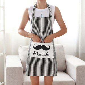 Beard Woman Kitchen Apron Cotton Linen Red Stripe Vintage Aprons for Cooking Baking Restaurant Pinafore AT25