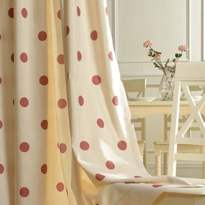 Modern Curtains for Living Room Bedroom Polka Dot-simple and Cute Polyester Cotton Fabric Curtain Finished Product Customization