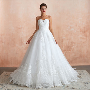 2019 real picture Sweetheart A-line Lace Wedding Dresses custom made full 3d lace appliques bridal Gowns sequined tulle puffy court train