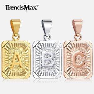Trendsmax Буквица ожерелье ожерелья Шарм Золото Серебро заглавной буква для женщин девушки алфавит ювелирных изделий