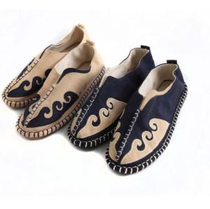 Nacional, étnica Calçado homens asiáticos 2020 novo estilo único respirável plana sapatos de salto taoísta chinês Zen antigo charme Sapatos