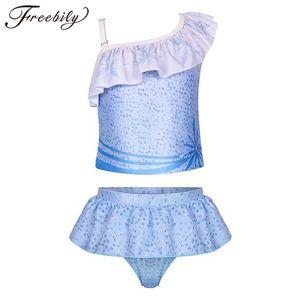 Kids Girls Tankini Ruffled Swimsuits Swimwear Toddlers One-shoulder Printed Swim Tops with Bottoms Swimming Bathing Suit Set