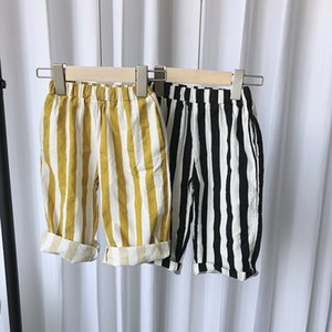 Spring Summer kids children loose vertical stripe trousers boys girls cotton wide leg pants Y200704