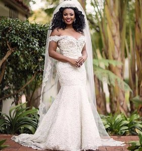 South African Plus Size Mermaid Wedding Dresses 2020 Cheap Sweetheart Beaded Lace Formal African Bridal Gowns Corset Back Custom Made