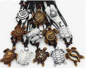 Imitação Yak óssea Carving Sorte Surfing Turtles Pendant ajustável cabo de jóias presente Amulet