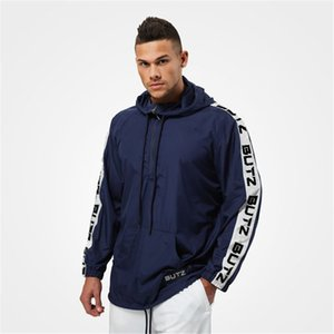 2019 gym Men's exercise Sports, fitness and leisure Hoodie Elastic force Comfortable Splicing letters outdoors pattern