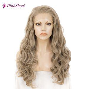 Synthetic Pinkshow parte dianteira do laço peruca loira peruca dianteira do laço ondulado Glueless resistente ao calor fibra por dia perucas para mulheres