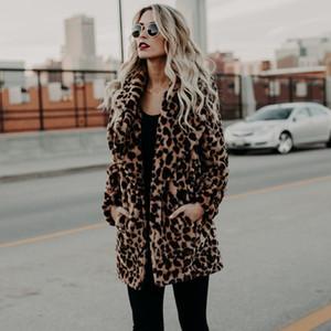 Kadınlar Moda Kış Kalın Coat Faux Fur Ceketler Leopar Baskı Kadın Sıcak Dış Giyim İçin Bayanlar Moda Uzun Sahte Kürk paltolar