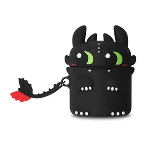 Fashion Silicone AirPods Case for Pro3 & 1 2 Bluetooth Headset Cute Cartoon Dragon Print Shockproof Cover Storage Box with Lanyard Wholesale