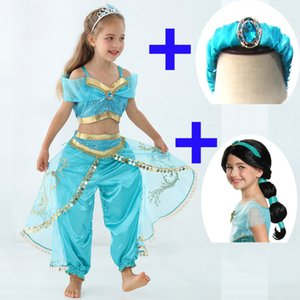 Aladdin jasmine Costume Kids Girls Jasmin Princess Costumes Halloween Party Wigs Dress for Children Girls Cosplay Christmas Gift